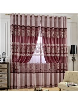 Modern Elegant Purple Stripes Printing Custom Sheer Curtain