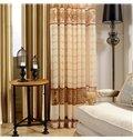 Modern Elegant Beige Leaves Printing Custom Sheer Curtain