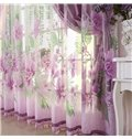Purple Country Style Flower Printing Custom Sheer Curtain