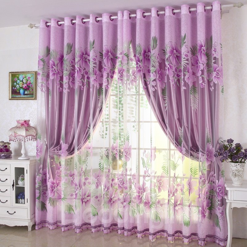 Purple Solid Shading Cloth Grommet Top Curtain