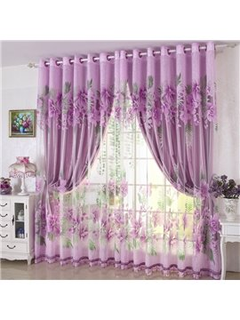 Concise Purple Solid Grommet Top Custom Lining Curtain for Living Room and Bedroom