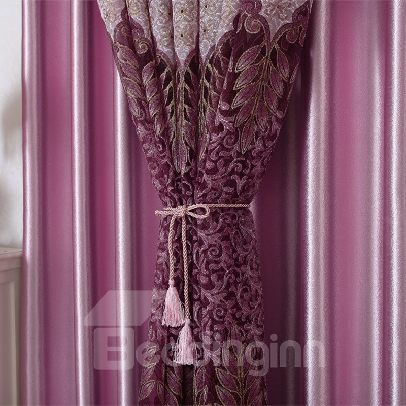 Modern Concise Purple Burnout Printing Custom Sheer Curtain