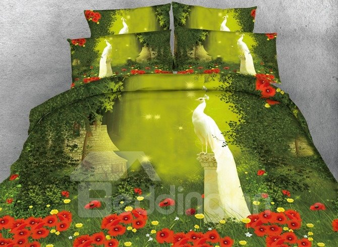 Noble White Peacock Print 5-Piece Comforter Sets