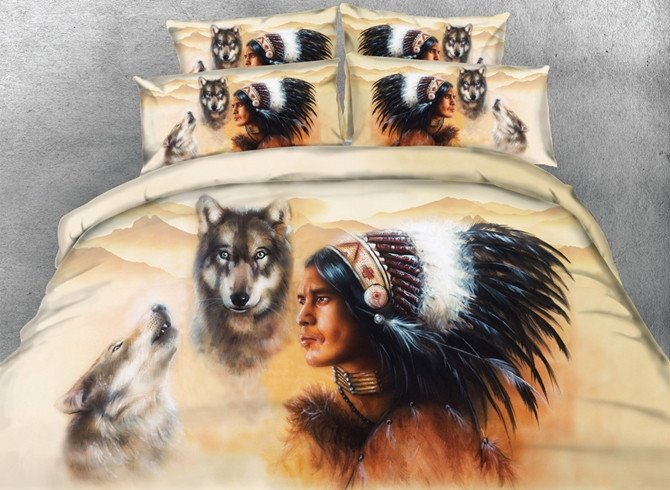 3d Wolf American Indian Chief Print 5 Piece Comforter Sets Pic