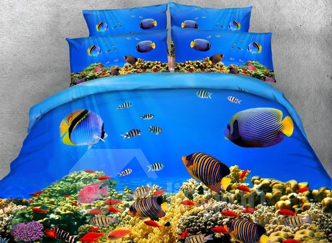 Colorful 3D Fish Aquarium Print 5-Piece Comforter Sets