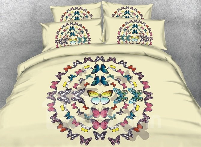 Romantic Multi-colored Butterfly Print 4-Piece Duvet Cover Sets