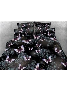 Vivid 3D Butterfly Print 4-Piece Duvet Cover Sets