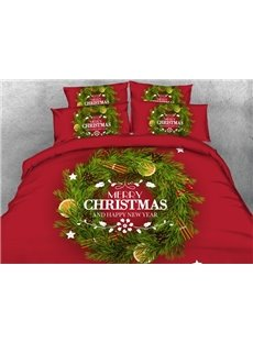 Attractive Christmas Wreath Print 5-Piece Comforter Sets