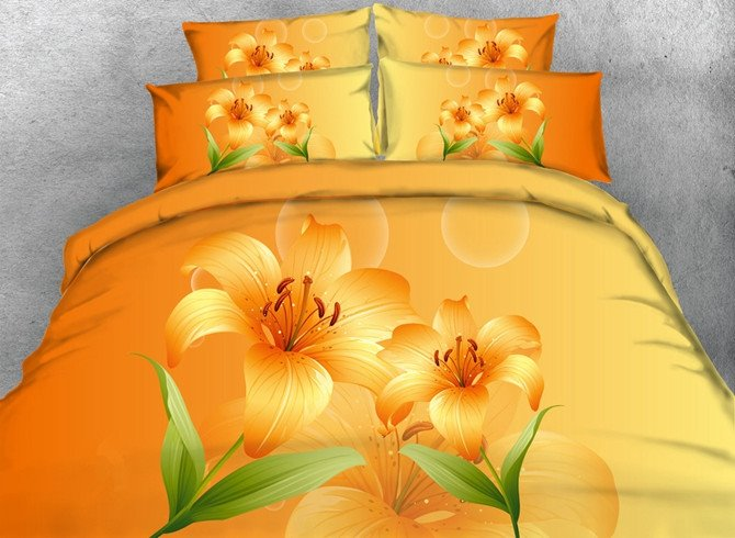 Yellow Lily Print 5 Piece Comforter Sets Pic