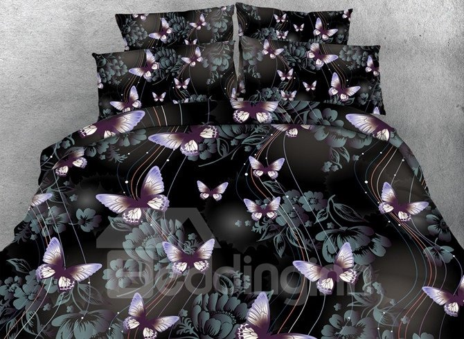 Romantic 3d Butterfly Print 5 Piece Comforter Sets Pic