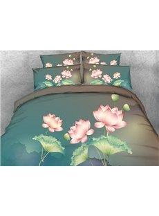3D Pink Lotus Print 5-Piece Comforter Sets