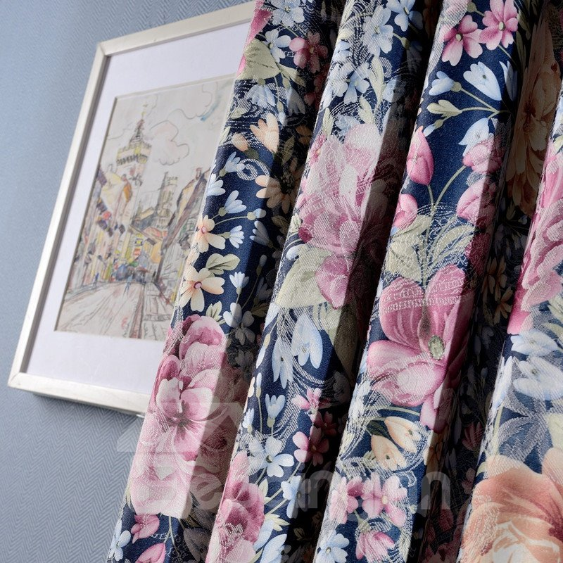 Country Style Peony Printing Blue Grommet Top Curtain