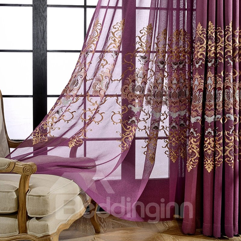 Thicken Embroidery Damask Purple Flax Grommet Top Sheer Curtain