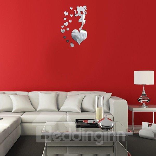 Cute Acrylic Beautiful Girl Standing on the Heart Pattern Wall Clock