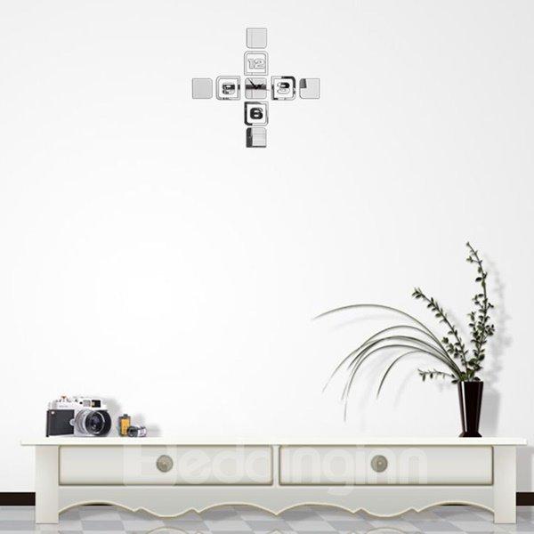 Fancy Three Colors Acrylic Cross Shape Hand and Digital Wall Clock