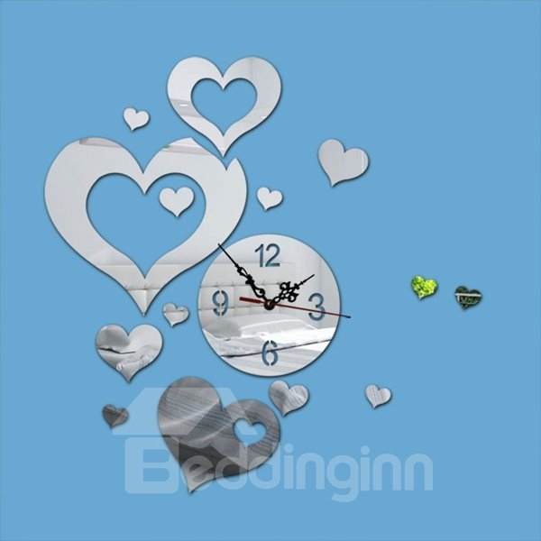 Round Acrylic with Heart Shaped Decoration Hand and Digital Wall Clock