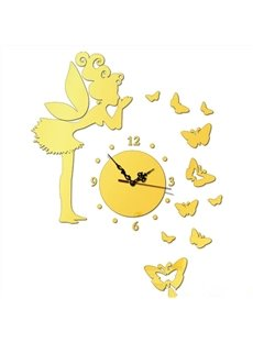 Lovely Acrylic Three Colors Fairy and Butterfly Shape with Hand and Digital Wall Clock