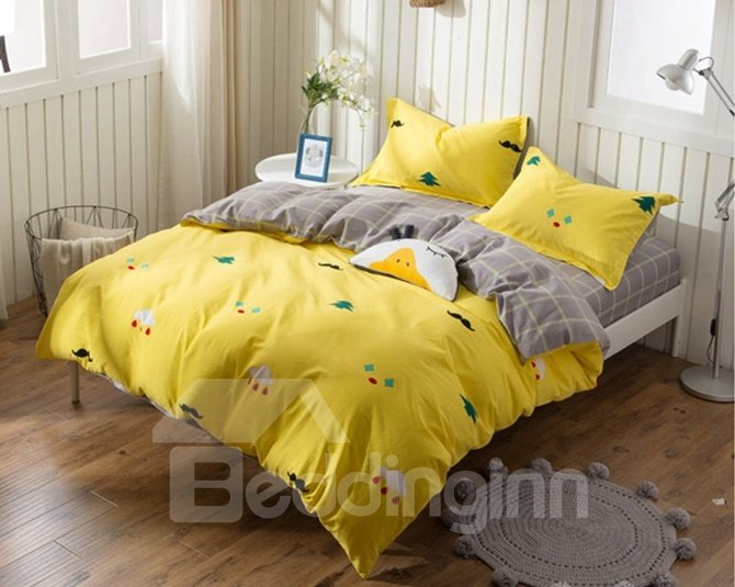 Lovely Mustache Print Yellow 4-Piece Cotton Duvet Cover Sets