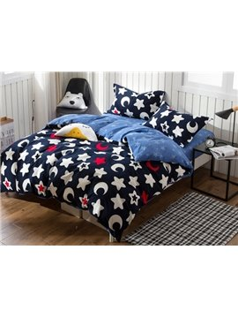 Cartoon Star Print 4-Piece Cotton Duvet Cover Sets