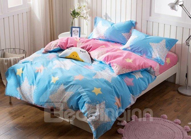 Shining Star Print 4-Piece Cotton Duvet Cover Sets
