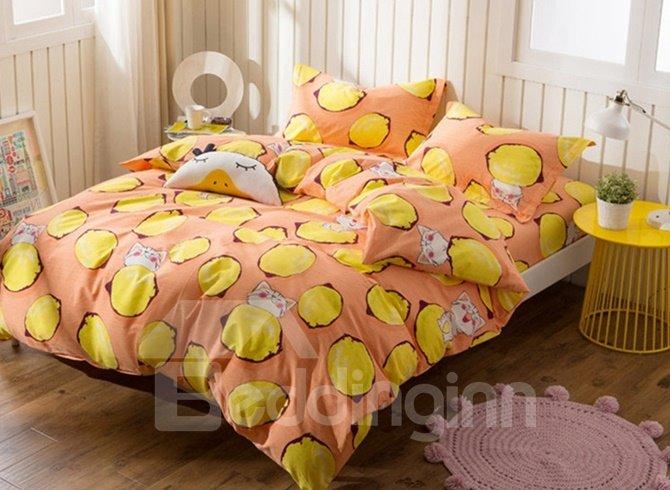 Lemon and Kitty Print 4-Piece Cotton Duvet Cover Sets