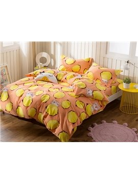 Lemon and Kitty Print 4-Piece Cotton Duvet Cover Sets