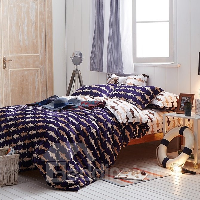 Unique Shark Print 4-Piece Cotton and Flannel Duvet Cover Sets