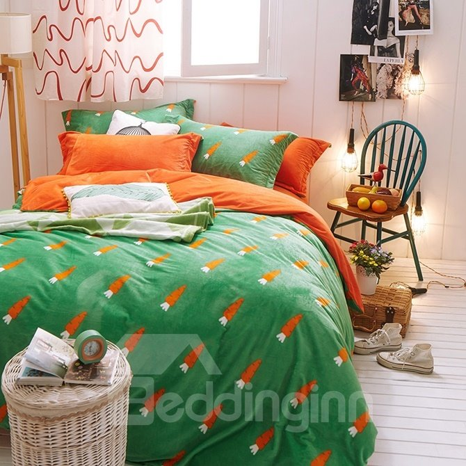Lovely Carrot Print 4-Piece Cotton and Flannel Duvet Cover Sets