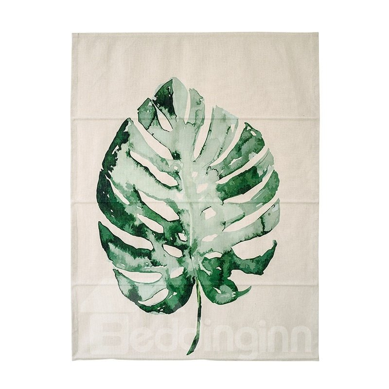 Breathable Green Monstera Leaf Printing Flat-Shaped Roman Shades