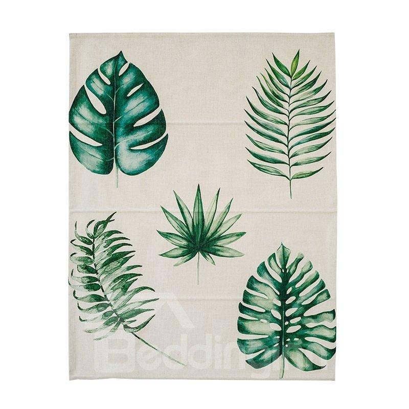 Fresh Green Leaves Printing Flat-Shaped Roman Shades