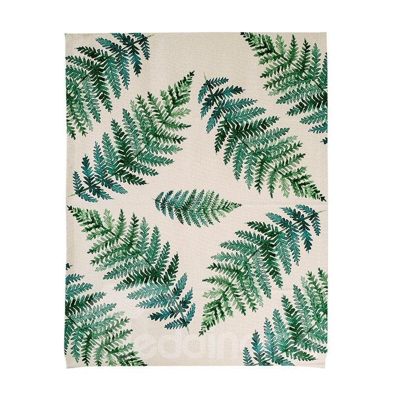 Elegant Decor Green Leaves Printing Flat-Shaped Roman Shades