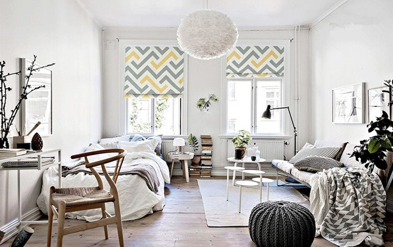 Concise Yellow and Grey Wave Stripes Printing Flat-Shaped Roman Shades