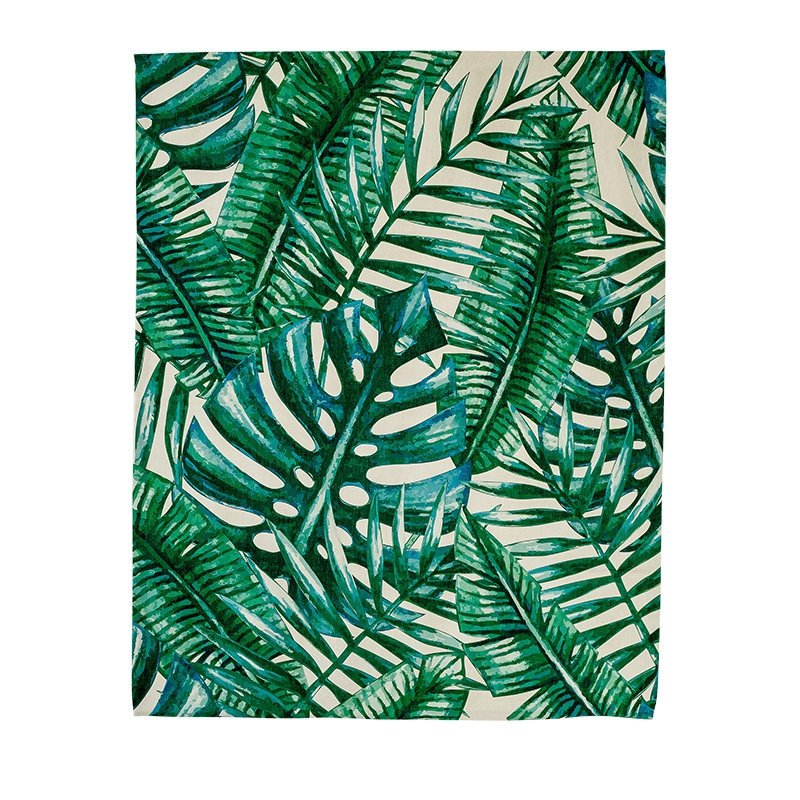 Window Decor Green Palm Leaves Printing Flat-Shaped Roman Shades