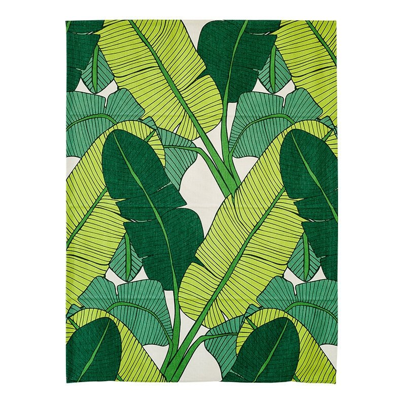 Creative Green Plantain Leaves Printing Flat-Shaped Roman Shades