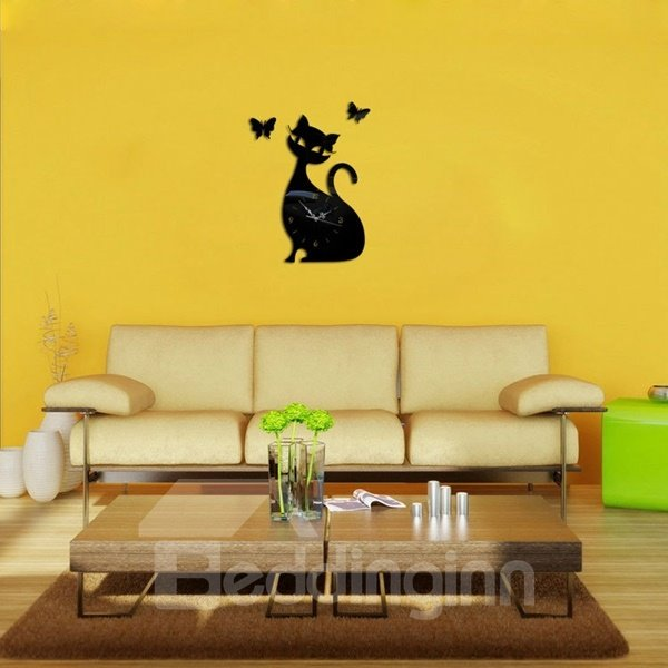 Cute Decorative Acrylic Cat Pattern with Butterflies Decoration Digital Wall Clock