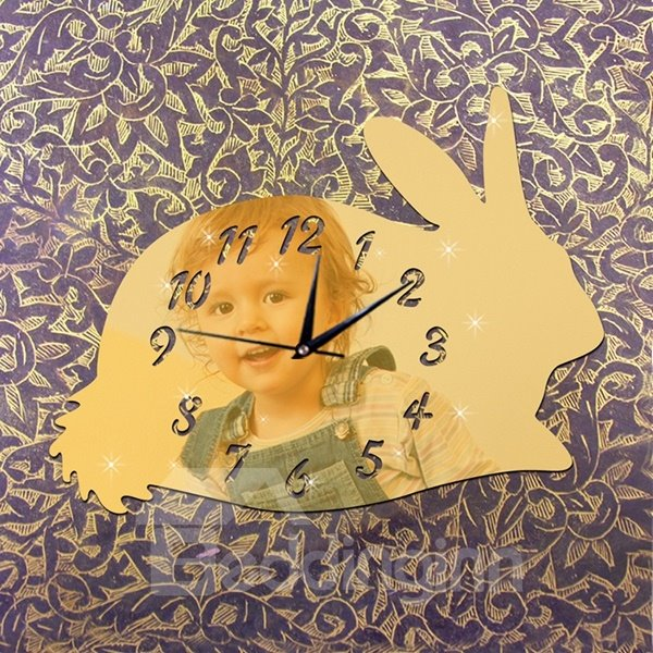 Lovely Cute Acrylic Mirror Rabbit Shape Digital Battery Wall Clock