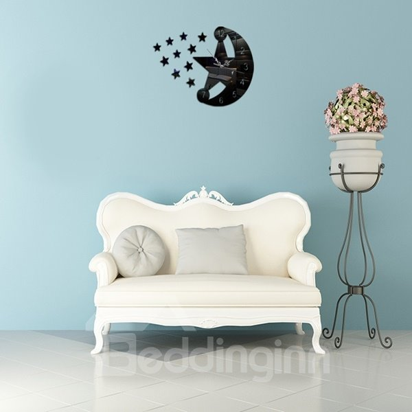 Popular Acrylic Moon and Star Pattern Battery Home Decoration Wall Clock