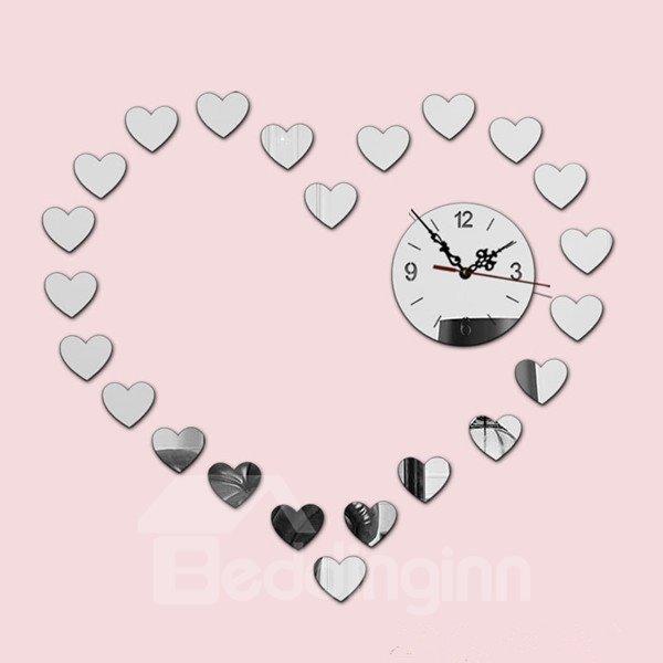 Gorgeous Acrylic Mirror Heart Shape House Decoration Battery Wall Clock