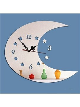 Decorative Acrylic Moon Shaped Digital Battery Wall Clock