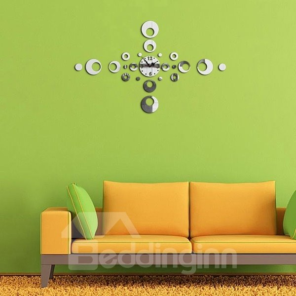 Fashion Acrylic Round Circle Pattern Home Decorative Wall Clock