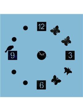Round Acrylic Birds and Butterflies Pattern Digital Battery Decorative Wall Clock