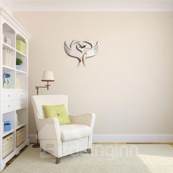 Romantic Two Birds Fall in Love Shape Acrylic Digital Battery Wall Clock