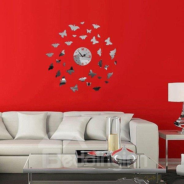 Stylish Round Acrylic Mirror Butterflies Pattern Battery Wall Clock