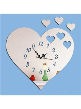 Heart Shaped 3 Colors Acrylic Mirror Stylish Battery Wall Clock