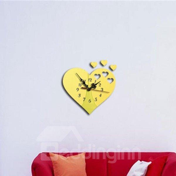 Heart Shaped 3 Colors Acrylic Mirror Stylish Battery Wall Clock
