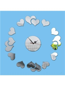 Warm Acrylic Romantic Heart Shaped Decorative Battery Wall Clock