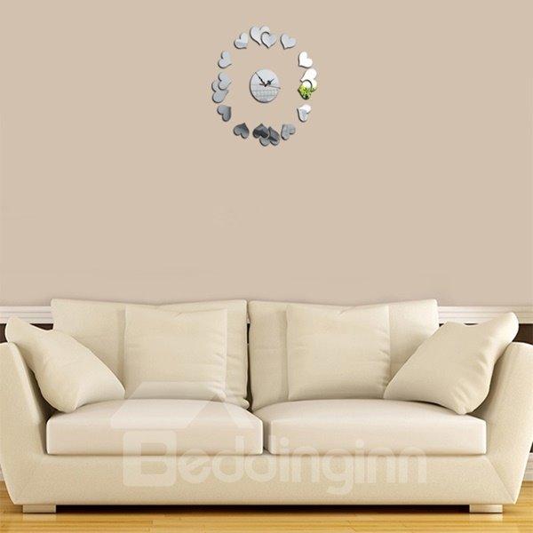 Warm Acrylic Romantic Heart Shaped Decorative Battery Wall Clock