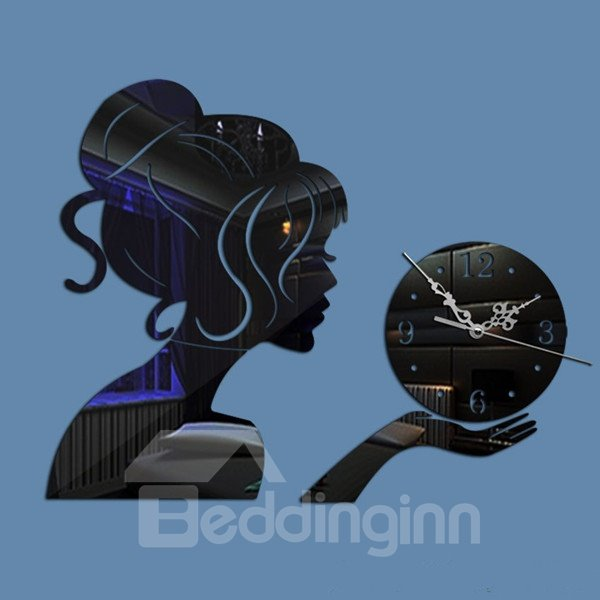 Elegant Acrylic Beautiful Girl Pattern Digital Decorative Wall Clock