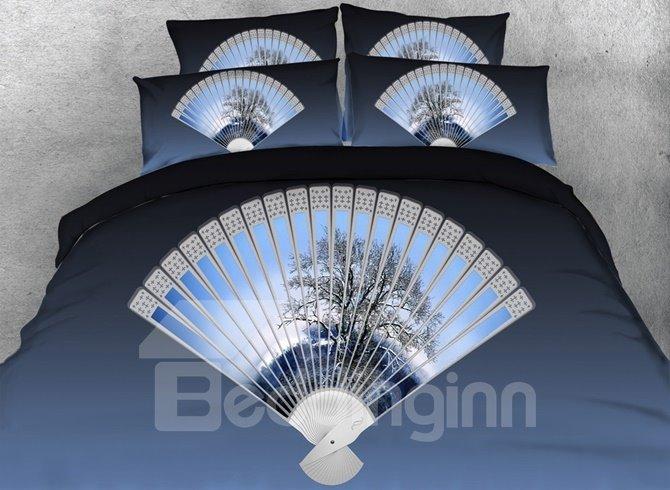 Classic Fan Print Blue 4-Piece Duvet Cover Sets