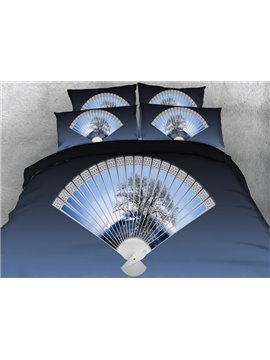 Classic Fan Print Blue 4-Piece Duvet Cover Sets